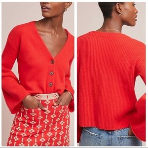 Anthro Moth Bell-Sleeved Cardigan, Red NWT